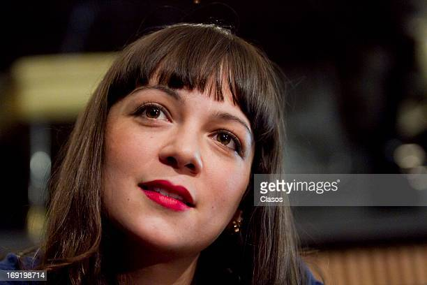 Mexican singer Natalia Lafourcade during a press conference to announce her performance at the Plaza Condeza on May 21 2013 in Mexico City Mexico