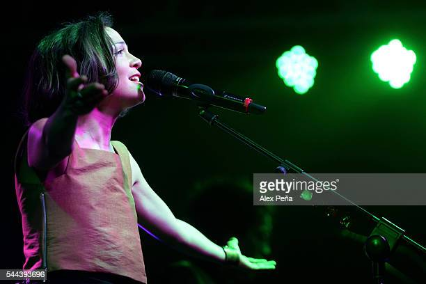 """Mexican singer Natalia Lafourcade performs during a show as part of her international tour to present the album """"Hasta la raiz"""" promoted by Amnesty..."""