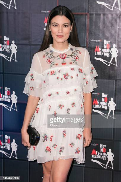 Mexican singer Natalia Subtil poses from the red carpet during the 'Hoy No Me Puedo Levantar' musical premier at Aldama Theter on July 06 2017 in...
