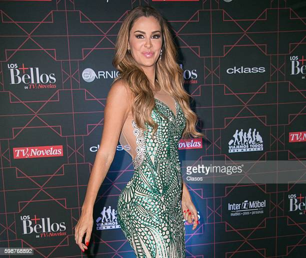 Mexican singer Ninel Conde poses during the red carpet of 'TvyNovelas Most Beautiful' at Carcamo de Dolores on August 31 2016 in Mexico City Mexico