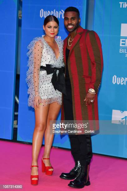 Mexican singer Sofia Reyes and Jason Derulo attend the MTV EMAs 2018 on November 4 2018 in Bilbao Spain