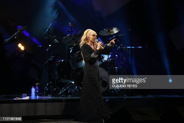 Mexican singer Yuri performs during the 60th Vina del Mar International Song Festival on February 25 2019 in Vina del Mar Chile