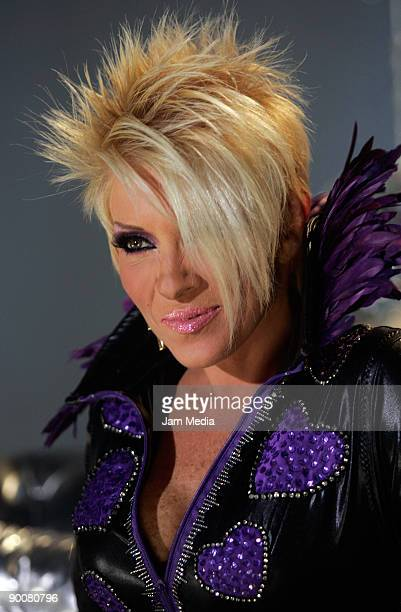 Mexican singer Yuri poses for a portrait during a press conference to announce her next concerts at the National Auditorium on August 25 2009 in...