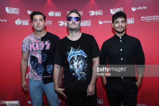 Mexican singers Julio Ramirez Jesus Navarro and Bibi Marín of Reik pop band poses for picture at red carpet during the Uforia Latino Mix Live Dallas...