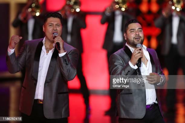 Mexican singers of Banda MS Sergio Lizarraga and Alan Manuel Ramirez Salcido perform on stage during the Premios de la Radio 2019 at Verizon Theater...