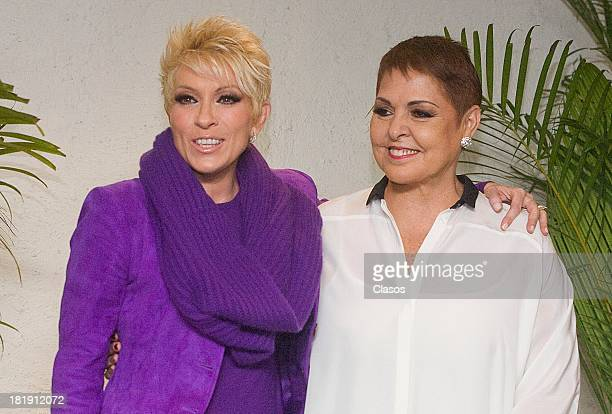 Mexican singers Yuri and Lupita Dalessio attend a press conference to announce their next concert on September 25 2013 in Mexico City Mexico