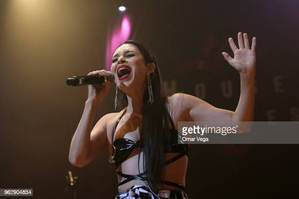 Mexican singersongwriter Denisse Guerrero Flores of the electropop band Belanova performs during the Belanova and Moenia Concert as part of the...