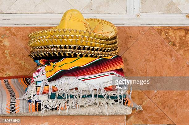 mexican sombreros and blankets - mexican fiesta stock pictures, royalty-free photos & images