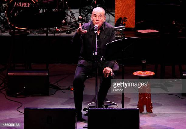 Mexican songwriter Oscar Chavez performs at Auditorio Nacional on August 29 2015 in Mexico City Mexico