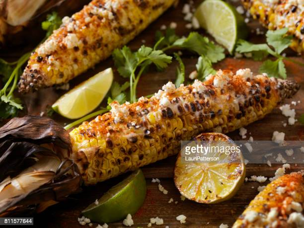 mexican style street corn - mexican picnic stock pictures, royalty-free photos & images