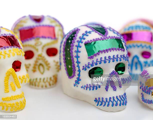 mexican sugar skulls - sugar skull stock photos and pictures