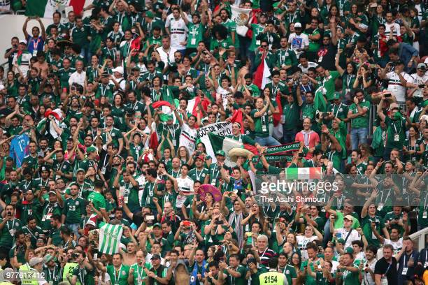Mexican supporters celebrate their team's 10 victory in the 2018 FIFA World Cup Russia Group F match between Germany and Mexico at the Luzhniki...
