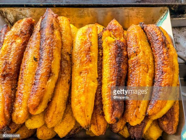 mexican sweet fried bananas - fried stock pictures, royalty-free photos & images