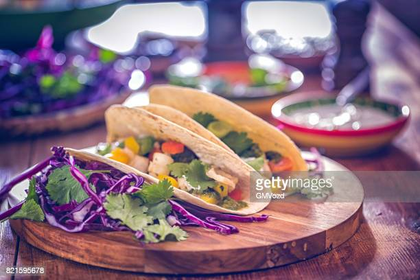 Mexican Tacos with Spicy Salsa and Fish Fillet