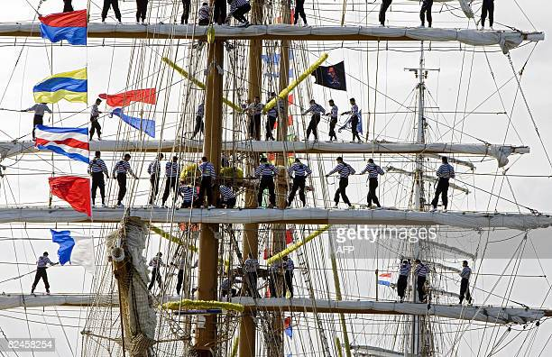 Mexican Tall Ship Cuauhtemoc arrives in the harbour of Den Helder Netherlands on August 19 2008 The navy training ship participates in theTall Ships'...