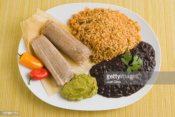 Mexican tamales with rice, beans and guacamole