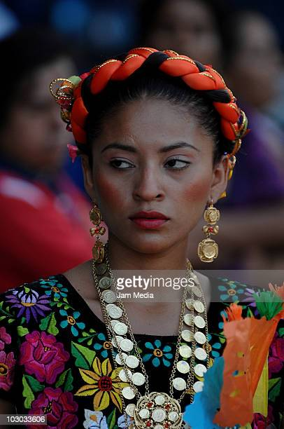 Mexican tehuana takes part in the Convite en Laollaga as part of the festivities in Isthmus of Tehuantepec know as Las Velas del Istmo at Santiago...