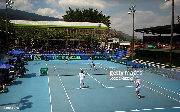 Mexican tennis players Daniel Garza and Miguel Reyes face El Salvador's Marcelo Arevalo and Rafael Arevalo during their Davis Cup doubles match in...