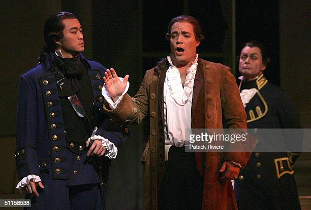 Mexican tenor Jorge LopezYanez and tenor Han Lim perform in a new production of Massenet's 'Manon' at the Sydney Opera House August 9 2004 in Sydney...