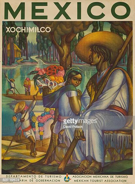 Mexican Tourist Association poster of group of natives in traditional costume one woman carrying baket of flowers 1944