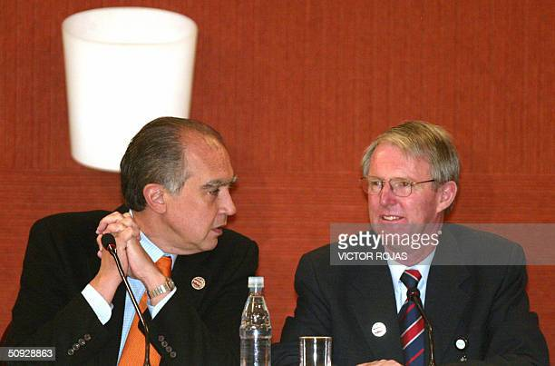Mexican Trade Representative Fernando Canales talks to New Zealand Trade Negociations Minister James Sutton during the last session of the...