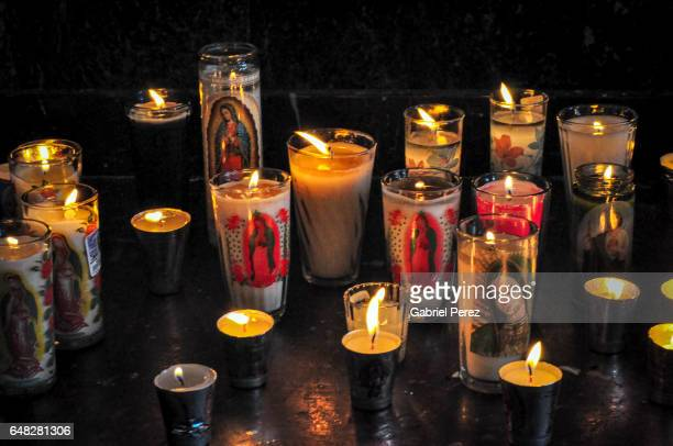 a mexican tribute to our lady of guadalupe - religious vigil stock photos and pictures