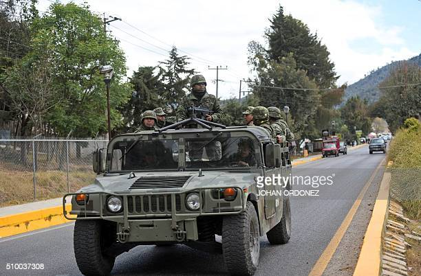 Mexican troops patrol in the vicinity of the place where Pope Francis will officiate an openair mass in San Cristobal de las Casas Chiapas State...