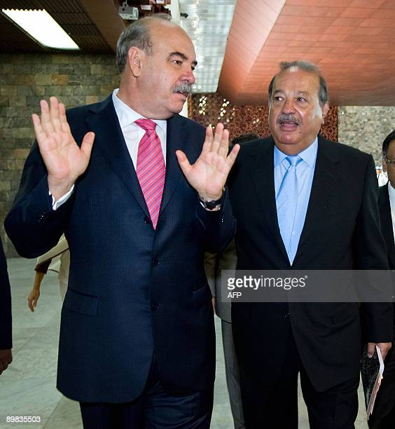 Mexican tycon Carlos Slim and President of the Foundation for Freedom of Expression Armando Prida Huerta talk at the Anthropololy Museum in Mexico...