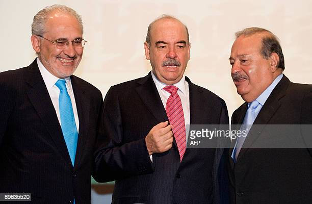 Mexican Tycon Carlos Slim the president of the Foundation for Freedom of Expression Armando Prida Huerta and former Bolivian President Carlos Mesa...