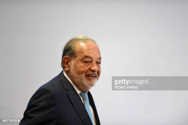 Mexican tycoon Carlos Slim arrives at a press conference in Mexico City on April 16 2018