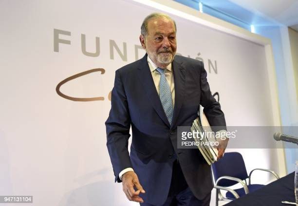 Mexican tycoon Carlos Slim leaves a press conference in Mexico City on April 16 2018