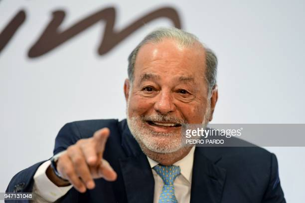 Mexican tycoon Carlos Slim speaks during a press conference in Mexico City on April 16 2018