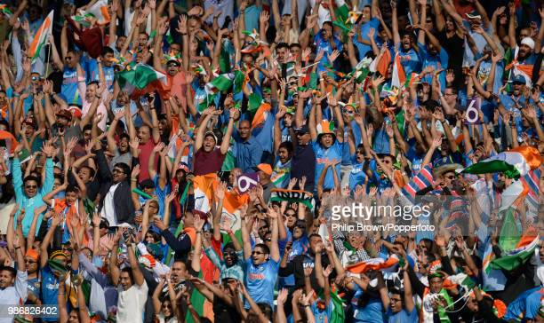 Mexican wave passes through a stand of Indian supporters the NatWest International Twenty20 between England and India at Edgbaston, Birmingham, 7th...