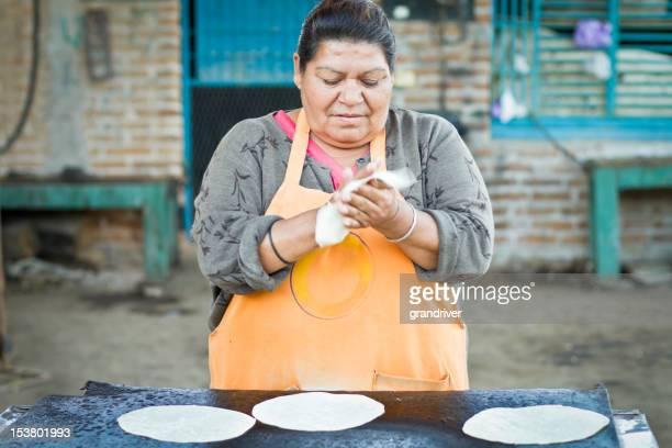 Mexican Woman Making Tortillas