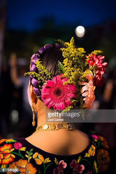 mexican woman with flowers in hair in oaxaca, mexico - oaxaca stock photos and pictures