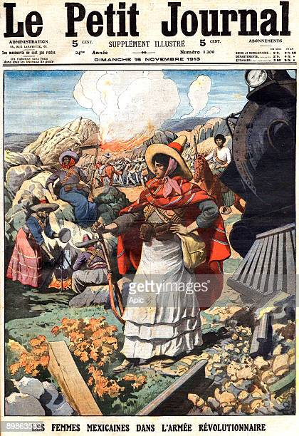 Mexican women in revolutionary army front page of french newspaper Petit Journal november 16 1913