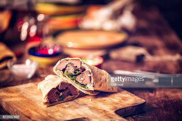 Mexican Wraps with Spicy Beef and Sour Cream