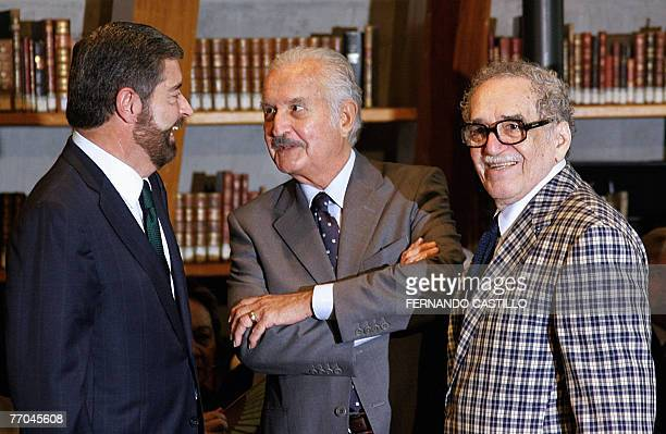 Mexican writer Carlos Fuentes Nobel prize winner Colombian writer Gabriel Garcia Marquez and Rector of the National Autonomous University of Mexico...