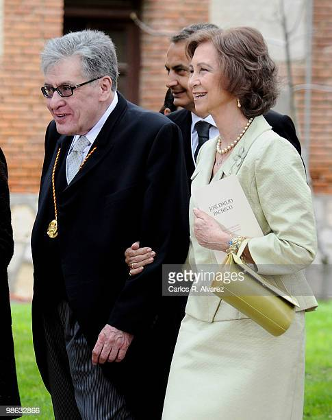 Mexican writer Jose Emilio Pacheco and Queen Sofia of Spain walk after the Cervantes Prize ceremony at Alcala de Henares University on April 23 2010...