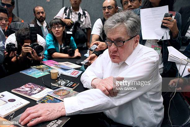 Mexican writer Jose Emilio Pacheco listens to a question during a press conference in Guadalajara Mexico on November 30 2009 Pacheco talked about...
