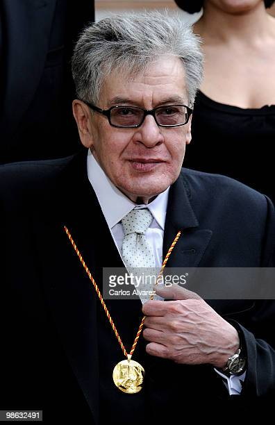 Mexican writer Jose Emilio Pacheco poses for the photographers after the Cervantes Prize ceremony at Alcala de Henares University on April 23 2010 in...