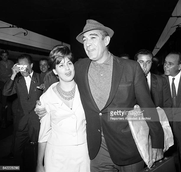 MexicanAmerican actor Anthony Quinn and his wife Jolanda Addolori arriving at Termini station Rome 1966
