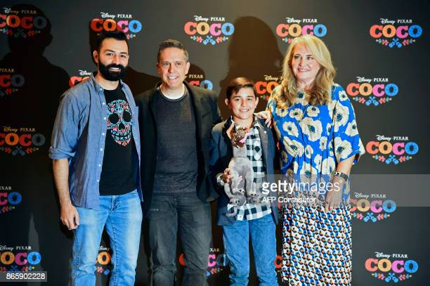 MexicanAmerican Codirector Adrian Molina US Director Lee Unkrich Mexican singer and actor Luis Angel Gomez and US Producer Darla K Anderson pose for...