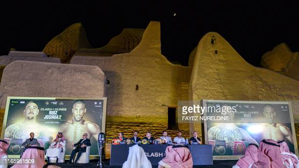 MexicanAmerican heavyweight boxing champion Andy Ruiz Jr British boxing promoter Eddie Hearn and British boxing challenger Anthony Joshua attend a...