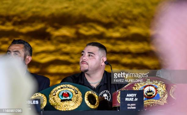 MexicanAmerican heavyweight boxing champion Andy Ruiz Jr gives a press conference ahead of the upcoming Clash on the Dunes fight between Ruiz Jr and...