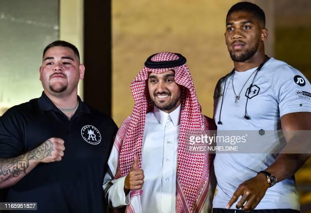 MexicanAmerican heavyweight boxing champion Andy Ruiz Jr Saudi Arabia's General Sport Authority chief Prince Abdulaziz bin Turki bin Faisal bin...