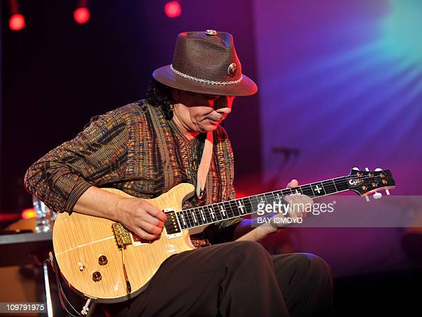 MexicanAmerican rock guitarist Carlos Santana plays at the annual Java Jazz Festival 2011 in Jakarta on March 5 2011 AFP PHOTO / Bay ISMOYO
