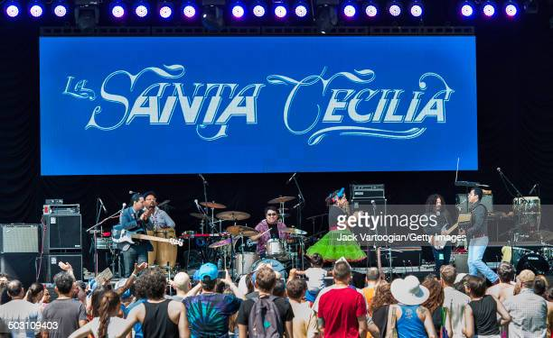 MexicanAmerican rootsrock band La Santa Cecilia opens the final concert of the 15th Annual Latin Alternative Music Conference at Central Park...
