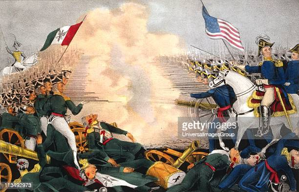 Mexican-American War 1846-1848: Battle of Buena Vista, 23 February 1847, also known as Battle of Angostura. Mexicans under Santa Anna in green,...