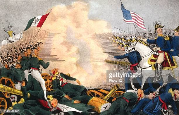 Mexican-American War 1846-1848: Battle of Buena Vista, also known as Battle of Angostura. Mexicans under Santa Anna in green, defeated by Americans...